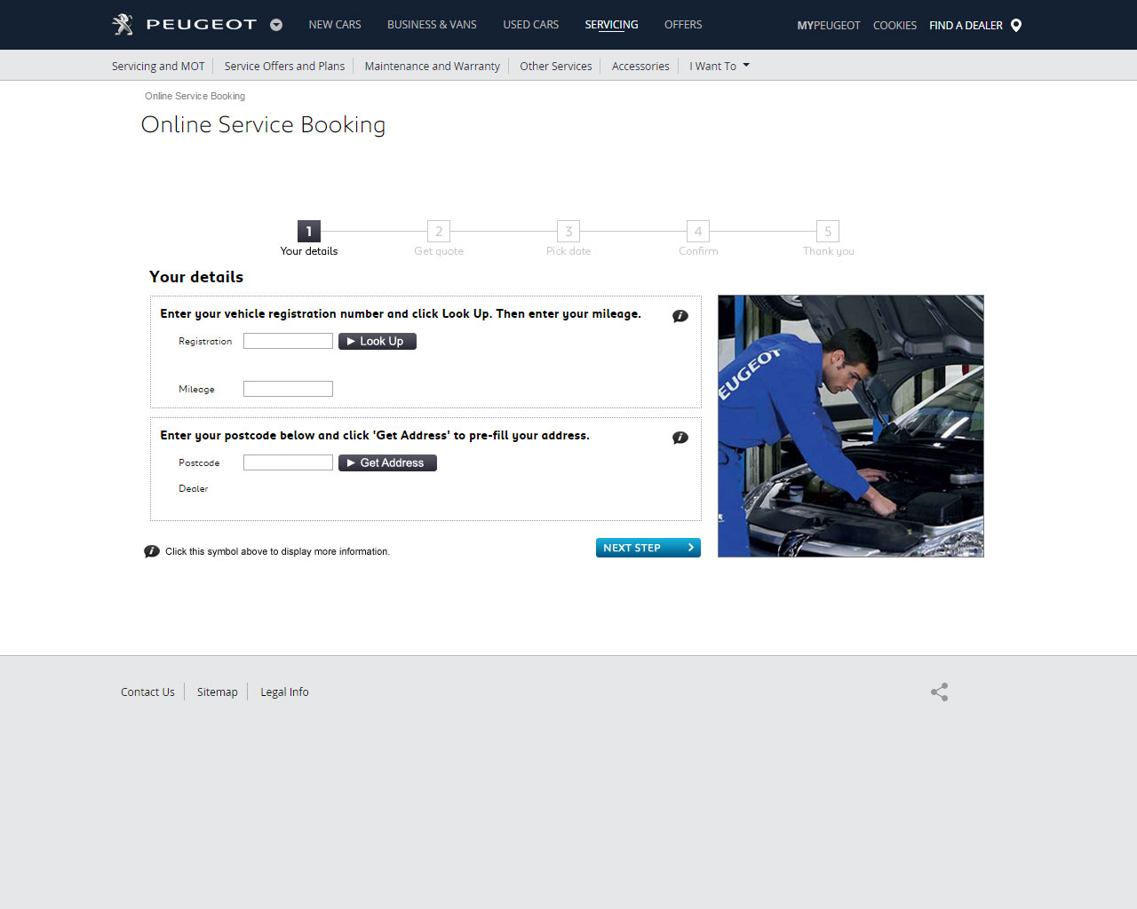 Peugeot Online Service Booking